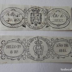 Sellos: TIMBROLOGIA - ESPAÑA 1833 SELLO 4º 40 MRS / ESPAÑA 1841 SELLO 2º 8 RS.. Lote 204592292