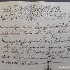 Timbres: PAPEL OFICIAL, MARCA PLASENCIA , TORNAVACAS, NO HAY GANADO DE CERDA , 1819. Lote 205806946