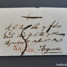 Sellos: CARTA COMPLETA MARCA PAMPLONA NAVARRA, A ARGUEDAS, 1829. Lote 205810310