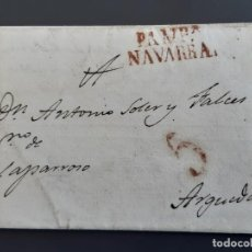 Sellos: CARTA COMPLETA MARCAS PAMPLONA NAVARRA, 1833. Lote 205811911