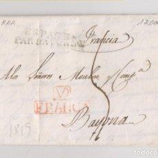 Sellos: PREFILATELIA. CARTA ENTERA. VALLADOLID. MARCA FRANCO. MUY RARA Y DE LUJO. 1819. Lote 206450900