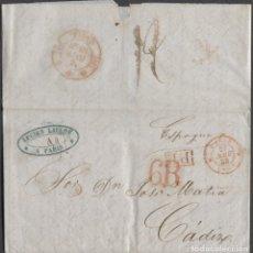 Francobolli: 1848 PARÍS A CÁDIZ. MARCA P.P. EN RECUADRO, FECHADOR DE PARIS, BAEZA LLEGADA Y PORTEO 6 R. Lote 207302070