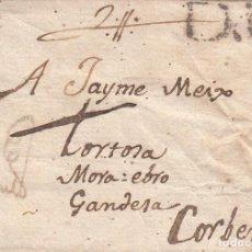 Sellos: PREFILATELIA - CARTA COMPLETA DE BARCELONA A JAIME MEIX EN CORBERA - 1804. Lote 208064477
