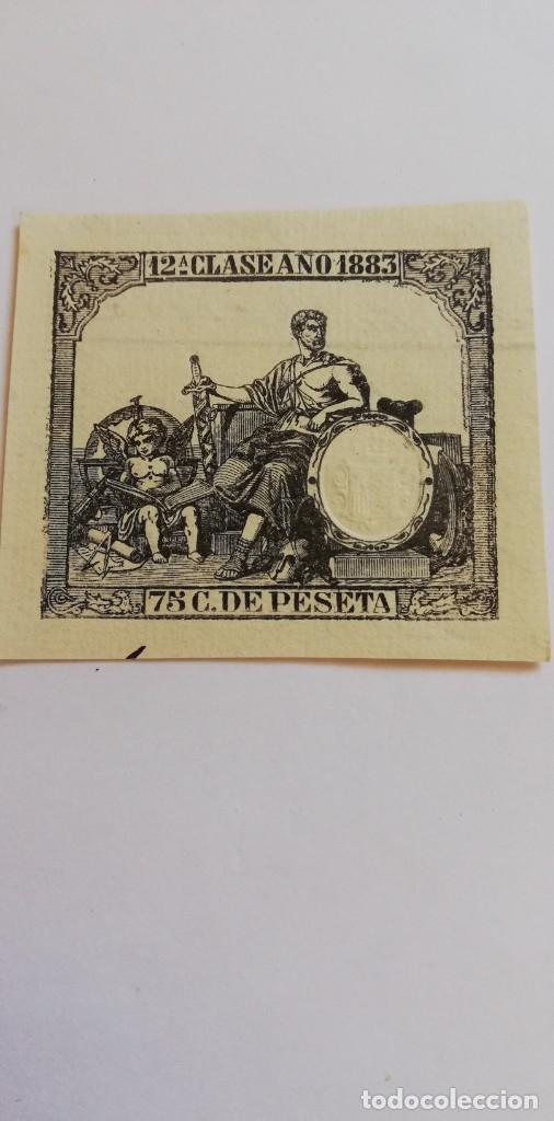 SELLO FISCAL 12ª CLASE AÑO 1883 75 CENT DE PESETA (Filatelia - Sellos - Prefilatelia)