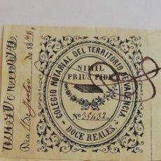 Sellos: SELLO FISCAL 12 REALES COLEGIO NOTARIAL TERRITORIO DE VALENCIA 35432. Lote 209730715