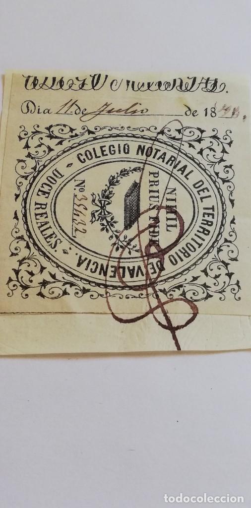 Sellos: Sello fiscal 12 reales Colegio notarial territorio de valencia 35432 - Foto 2 - 209730715
