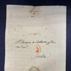 Sellos: CARTA A SEVILLA, 1796. DIRIGIDA AL MARQUES DE TABLANTES. VER FOTOS.. Lote 209990923