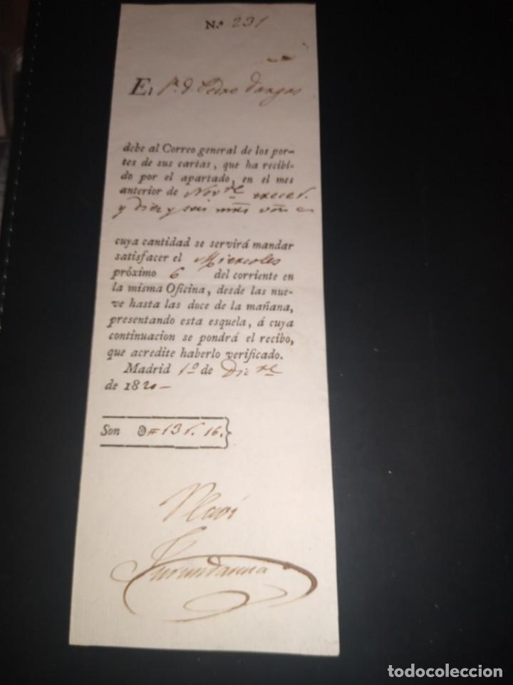RECIBO, DEBE AL CORREO GENERAL DE LOS PORTES DE SUS CARTAS, APARTADO DE CORREOS.. AÑO 1820 (Filatelia - Sellos - Prefilatelia)