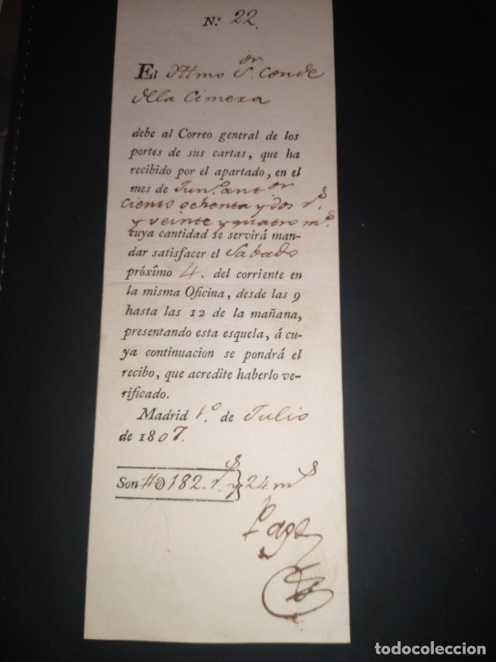 RECIBO, DEBE AL CORREO GENERAL DE LOS PORTES DE SUS CARTAS, APARTADO DE CORREOS.. AÑO 1807 (Filatelia - Sellos - Prefilatelia)