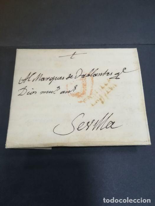 PREFILATELIA. CARTA DE SEVILLA. MARQUES DE TABLANTES. MARCA DE VILLAREJO DE SALVANES EN MADRID. 1796 (Filatelia - Sellos - Prefilatelia)