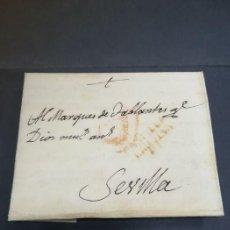 Sellos: PREFILATELIA. CARTA DE SEVILLA. MARQUES DE TABLANTES. MARCA DE VILLAREJO DE SALVANES EN MADRID. 1796. Lote 214313783