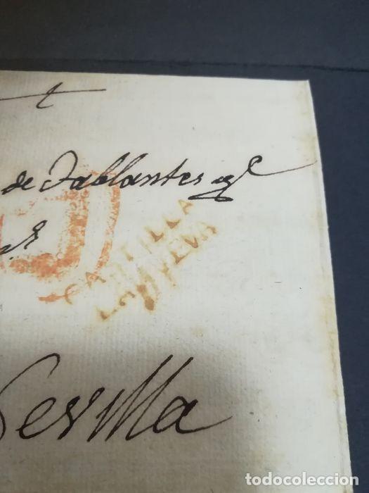 Sellos: Prefilatelia. Carta de Sevilla. Marques de Tablantes. Marca de Villarejo de Salvanes en Madrid. 1796 - Foto 2 - 214313783