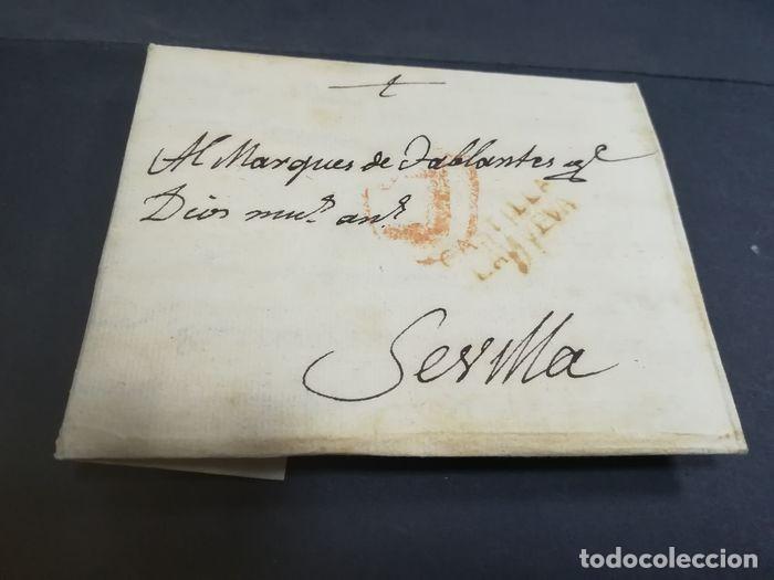 Sellos: Prefilatelia. Carta de Sevilla. Marques de Tablantes. Marca de Villarejo de Salvanes en Madrid. 1796 - Foto 4 - 214313783