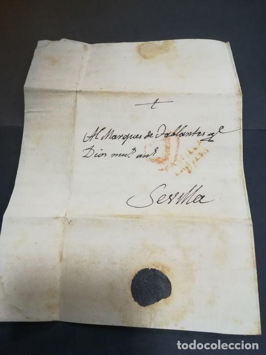 Sellos: Prefilatelia. Carta de Sevilla. Marques de Tablantes. Marca de Villarejo de Salvanes en Madrid. 1796 - Foto 11 - 214313783