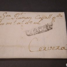 Sellos: HISTORIA POSTAL CARTA DE 1768 SIGLO XVIII DE BARCELONA A CERVERA MARCA CATALVÑA Y FILIGRANA EN PAPEL. Lote 219460498