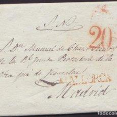 Sellos: 1835. PALMA DE MALLORCA A MADRID. MARCA MALLORCA. PORTEO 20 CUARTOS. MUY INTERESANTE ENVUELTA.. Lote 220817652
