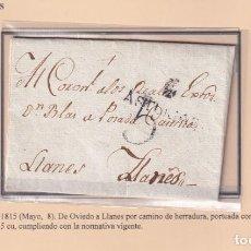 Selos: 1815. OVIEDO A LLANEES. PORTEO 5 CUARTOS. MARCA DE OVIEDO Nº 10. RARA.. Lote 221775362