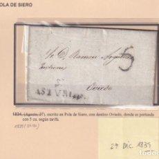 Sellos: 1839. POLA DE SIERO A OVIEDO. PROTEO 5 CUARTOS. MARCA Nº 1 DE SIERO.. Lote 221775907