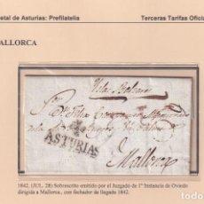 Sellos: 1842. OVIEDO A MALLORCA. MARCA DE OVIEDO Nº 14. RARA. JUZGADO 1ª INSTANCIA. FECHADOR LLEGADA.. Lote 221776338