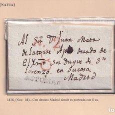 Sellos: 1838. ANLEO A MADRID. PORTEO 8 CUARTOS MARCA N/ASTURIAS Nº 3 DE NAVIA.. Lote 221777128