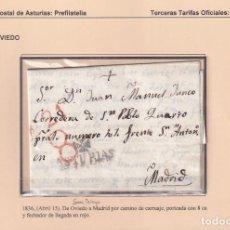 Sellos: 1836. SAN PELAYO A MADRID. PORTEO 8 CUARTOS Y FECHADOR. MARCA Nº 13 DE OVIEDO. RARÍSIMO ORIGEN.. Lote 221777445