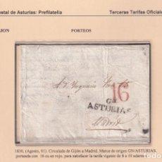 Sellos: 1830. GIJÓN A MADRID. PORTEO 16 CUARTOS. MARCA GN/ASTURIAS Nº 4 DE GIJÓN.. Lote 221778098