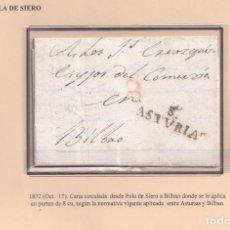 Sellos: 1832. POLA DE SIERO A BILBAO. PORTEO 8 CUARTOS. MARCA S./ASTVRIAS Nº 1 DE SIERO.. Lote 221778180