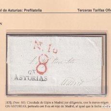 Sellos: 1837. GIJÓN A MADRID. PORTEO 8 CUARTOS. MARCA GN/ASTURIAS Nº 4 DE GIJÓN.. Lote 221778281