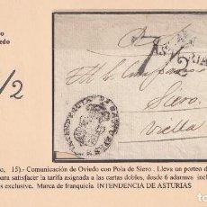 Sellos: 1823. OVIEDO A POLA DE SIERO. PORTEO 7 1/2 CUARTOS. MARCA Nº 11 DE OVIEDO.. Lote 221778486