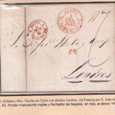 Sellos: 1843. GIJÓN A LONDRES VÍA SAN JUAN DE LUZ. PORTEO MNS. INGLÉS Y FECHADOR. MARCA Nº 5 DE GIJÓN.. Lote 221778621