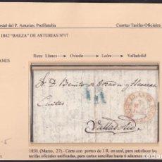 Sellos: 1850. LLANES A VALLADOLID. PORTEO 1R. REAL AZUL. MARCA Nº 5 DE LLANES EN ROJO.. Lote 221778850