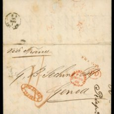 Sellos: 1860 CARTA PREFILATELIA LONDRES A GÉNOVA, ITALIA VÍA FRANCIA. FRANCO. PORTE PAGADO HASTA LA FRONTERA. Lote 221916760