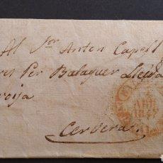Sellos: HISTORIA POSTAL CARTA DE FLYS A BALAGUER LLEIDA TARROJA CERVERA AÑO 1847 SIGLO XIX. Lote 222029363
