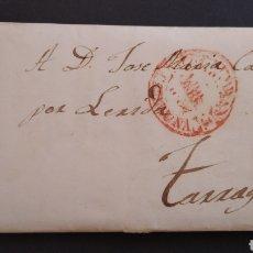 Sellos: HISTORIA POSTAL CARTA DE LÉRIDA A TARRAGONA AÑO 1854 SIGLO XIX. Lote 222030665