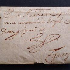 Sellos: HISTORIA POSTAL CARTA DE SOLSONA A TARROGA AÑO 1753 SIGLO XVIII CON FILIGRANA EN EL PAPEL. Lote 222036935