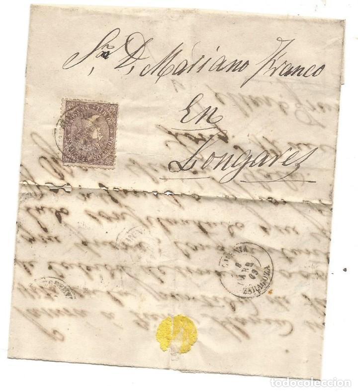 Sellos: ENVUELTA CARTA Entera ZARAGOZA 1869 - Foto 2 - 222123940