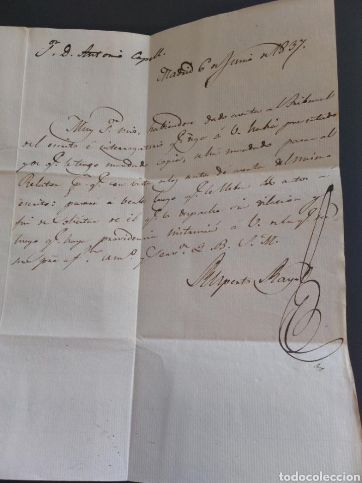 Sellos: Historia postal carta del 1837 de Madrid a Lérida con marca 8 - Foto 4 - 222643945