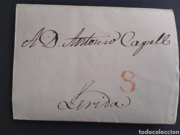 HISTORIA POSTAL CARTA DEL 1837 DE MADRID A LÉRIDA CON MARCA 8 (Filatelia - Sellos - Prefilatelia)