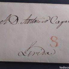 Sellos: HISTORIA POSTAL CARTA DEL 1837 DE MADRID A LÉRIDA CON MARCA 8. Lote 222643945