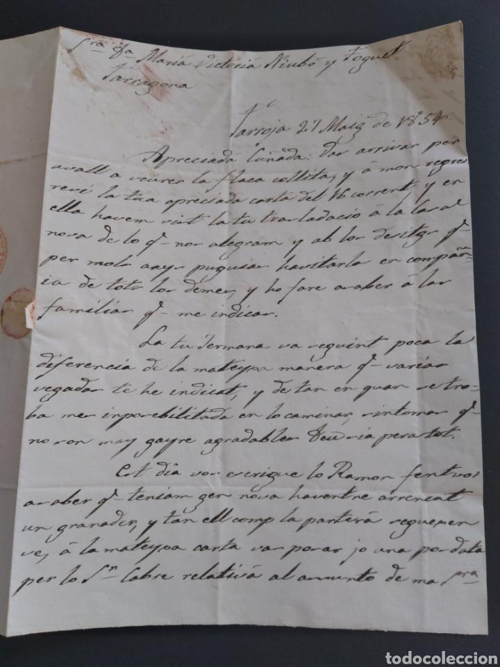 Sellos: Historia postal carta del 1854 de Tarroja a Tarragona, 2 matasellos Cervera y Tarragona Cataluña - Foto 4 - 222645383