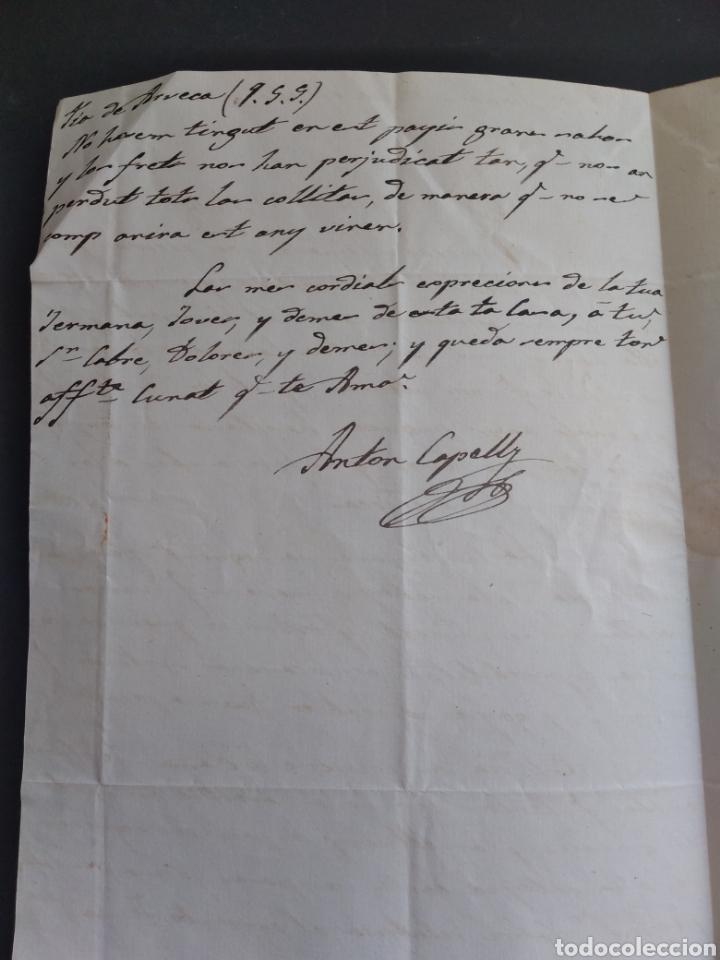 Sellos: Historia postal carta del 1854 de Tarroja a Tarragona, 2 matasellos Cervera y Tarragona Cataluña - Foto 5 - 222645383