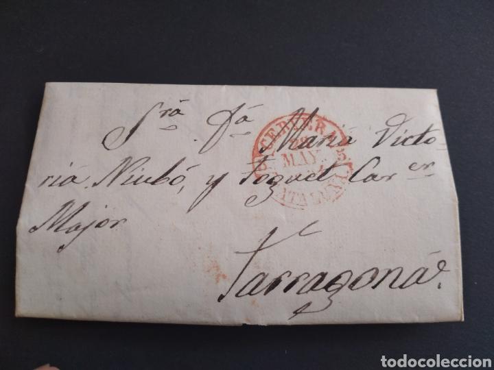 HISTORIA POSTAL CARTA DEL 1854 DE TARROJA A TARRAGONA, 2 MATASELLOS CERVERA Y TARRAGONA CATALUÑA (Filatelia - Sellos - Prefilatelia)