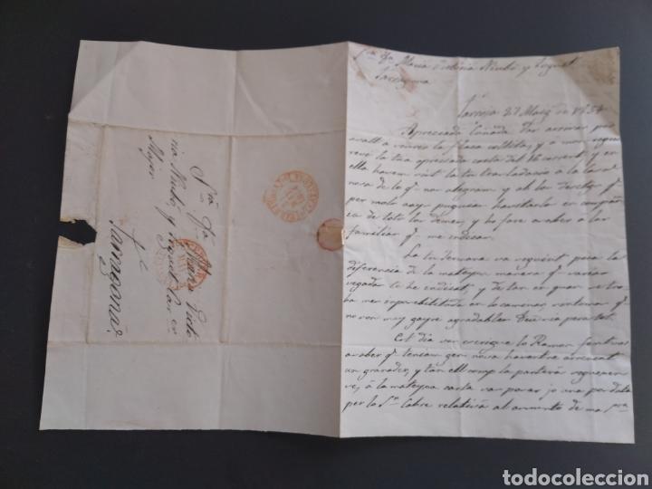 Sellos: Historia postal carta del 1854 de Tarroja a Tarragona, 2 matasellos Cervera y Tarragona Cataluña - Foto 3 - 222645383