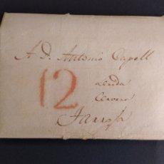Sellos: HISTORIA POSTAL CARTA DE MADRID A LLEIDA CERVERA TARROJA CERVERA MARCA 12 AÑO 1834 SIGLO XIX. Lote 222743678