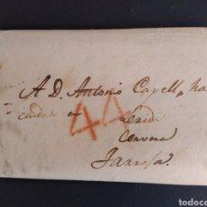 Sellos: HISTORIA POSTAL CARTA DE MADRID A LLEIDA CERVERA TARROJA CERVERA CON MARCA 44 AÑO 1834 SIGLO XIX. Lote 222744382