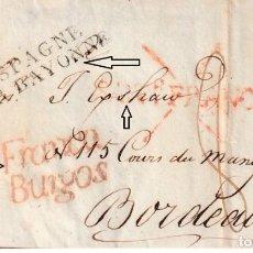 Francobolli: SANTANDER A BURDEOS-1826 MARCAS FRANCA, ASPAS, FRANCA / BURGOS TRANSITO - BONITA PIEZA. Lote 223033322