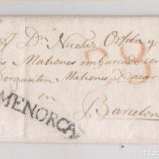 Selos: PREFILATELIA. CARA ENTERA MAHÓN. MENORCA. AL BERGANTÍN MAHONÉS XACAR EN BARCELONA. 1821. BALEARES. Lote 223096911