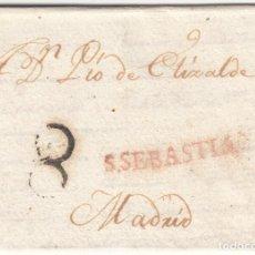 Timbres: 1814 CARTA PREFILATELICA S SEBASTIAN PORTEO 8 A PIO ELIZALDE ALUDE A FERNANDO VII GUERRA INDEPENDENC. Lote 224097192