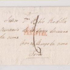 Sellos: PREFILATELIA. CARTA ENTERA. LA MORRA. BURGOS. MARCA PEÑAFIEL. VALLADOLID. 1835. A SORIA. Lote 225065410