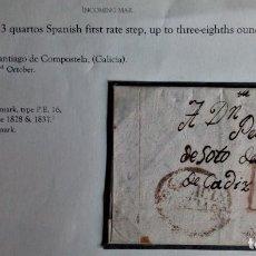 Timbres: PREFILATELIA SANTIAGO DE COMPOSTELA GALIA A CADIZ 1832. Lote 232627460